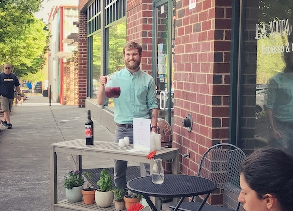 Tyler pouring Sangria Samples